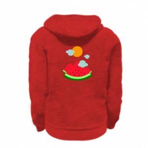 Kid's zipped hoodie % print% Watermelon