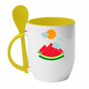 Mug with ceramic spoon Watermelon