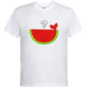 Męska koszulka V-neck Arbuz - PrintSalon