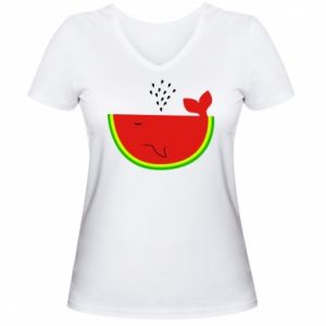 Damska koszulka V-neck Arbuz - PrintSalon