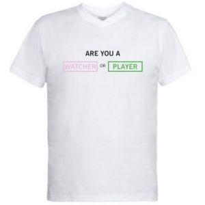 Męska koszulka V-neck Are you a watcher or player