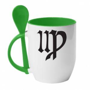 Mug with ceramic spoon Astronomical Sign of the Zodiac Virgo - PrintSalon