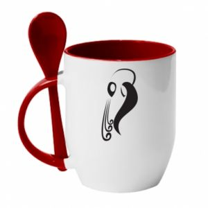 Mug with ceramic spoon Astronomical Zodiac Sign Aquarius - PrintSalon