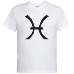 Men's V-neck t-shirt Astronomical zodiac sign Pisces - PrintSalon