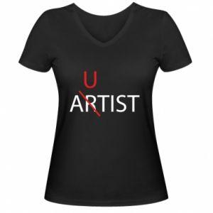 Damska koszulka V-neck Autist