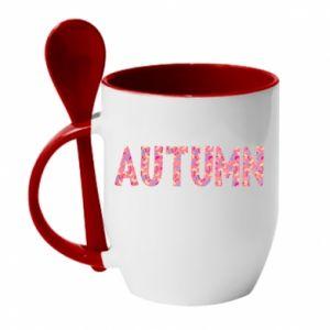 Kubek z ceramiczną łyżeczką Autumn - PrintSalon