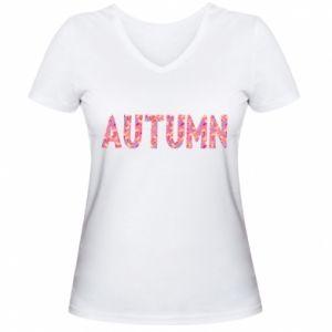 Damska koszulka V-neck Autumn - PrintSalon