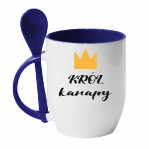 Mug with ceramic spoon King of the couch - PrintSalon