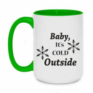 Two-toned mug 450ml Baby it's cold outside