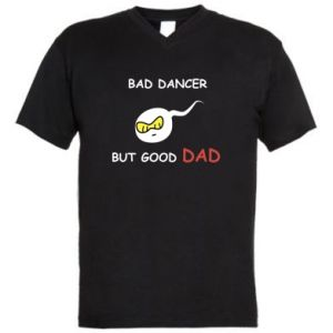 Men's V-neck t-shirt Bad dancer but good dad - PrintSalon