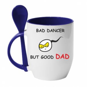 Mug with ceramic spoon Bad dancer but good dad - PrintSalon