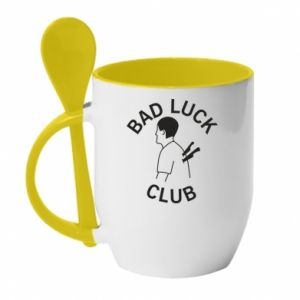 Mug with ceramic spoon Bad luck club - PrintSalon
