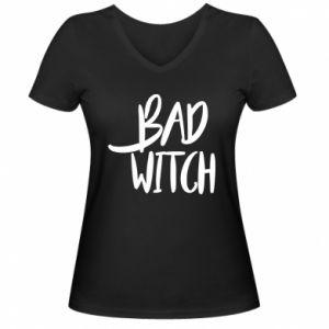 Damska koszulka V-neck Bad witch
