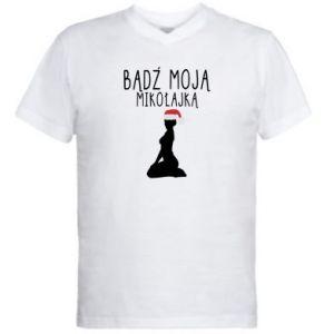 Męska koszulka V-neck Bądź moją Mikołajką