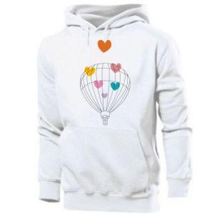 Męska bluza z kapturem Balloon flies to the hearts