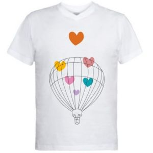 Koszulka V-neck męska Balloon flies to the hearts