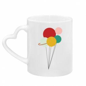 Mug with heart shaped handle Planet balloons
