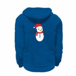 Kid's zipped hoodie % print% Snowman in hat
