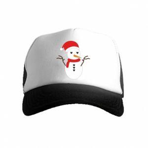 Kid's Trucker Hat Snowman in hat