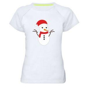 Women's sports t-shirt Snowman in hat