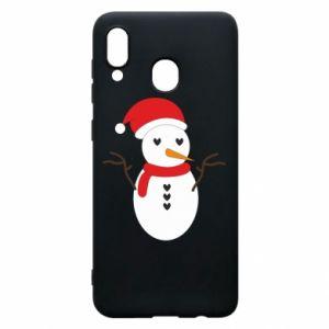Samsung A20 Case Snowman in hat