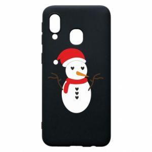 Samsung A40 Case Snowman in hat