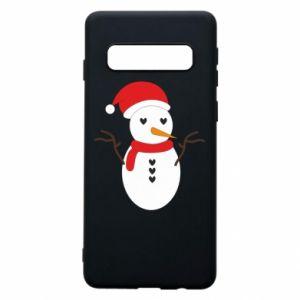 Samsung S10 Case Snowman in hat