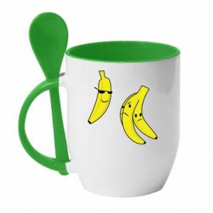 Mug with ceramic spoon Banana in glasses