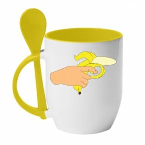 Kubek z ceramiczną łyżeczką Banana Shot