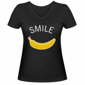 Damska koszulka V-neck Banana smile