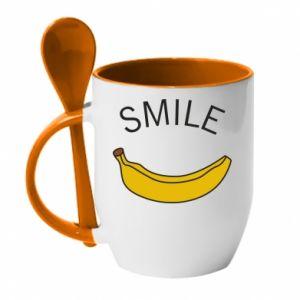 Kubek z ceramiczną łyżeczką Banana smile