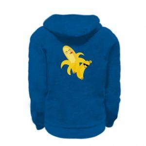 Kid's zipped hoodie % print% Bananas