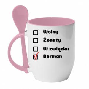 Kubek z ceramiczną łyżeczką Barman