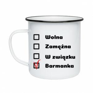 Enameled mug Barmaid, for her - PrintSalon