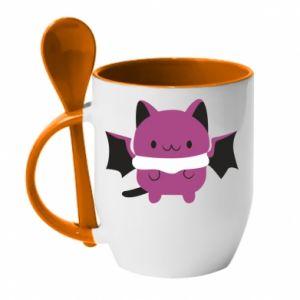 Mug with ceramic spoon Batсat - PrintSalon