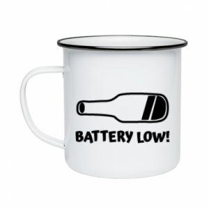 Enameled mug Battery low