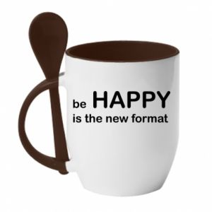 Kubek z ceramiczną łyżeczką Be happy is the new format
