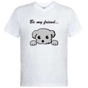 Men's V-neck t-shirt Be my friend