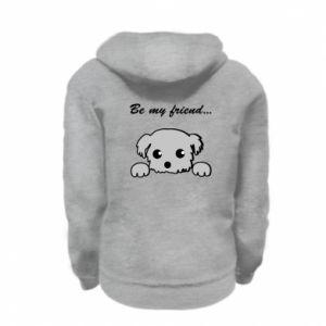 Kid's zipped hoodie % print% Be my friend