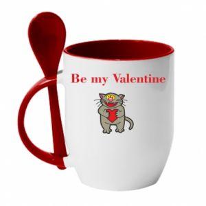Kubek z ceramiczną łyżeczką Be my Valentine