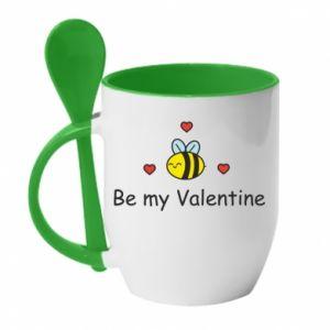 Kubek z ceramiczną łyżeczką Pszczoła i serce