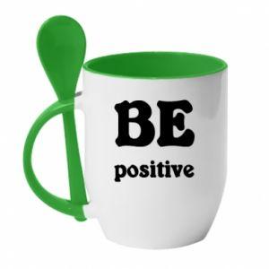 Kubek z ceramiczną łyżeczką BE positive