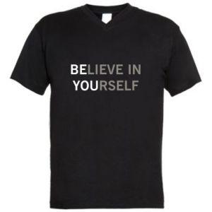 Męska koszulka V-neck BE YOU - PrintSalon