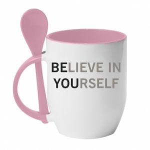 Kubek z ceramiczną łyżeczką BE YOU - PrintSalon