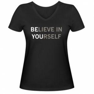 Damska koszulka V-neck BE YOU - PrintSalon
