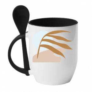 Kubek z ceramiczną łyżeczką Beach illustration