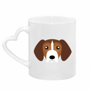 Mug with heart shaped handle Beagle breed