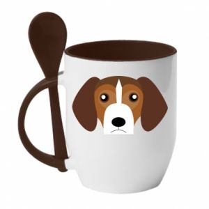 Mug with ceramic spoon Beagle breed - PrintSalon