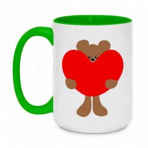 Two-toned mug 450ml Bear with a big heart
