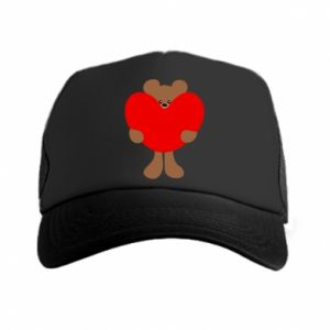 Trucker hat Bear with a big heart